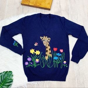 Navy Blue Vneck Vintage Knitted Sweater  D1312